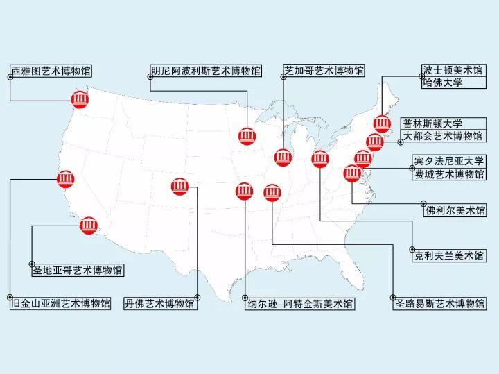 ▲美国博物馆地图/曾刊于《美成在久》第17期