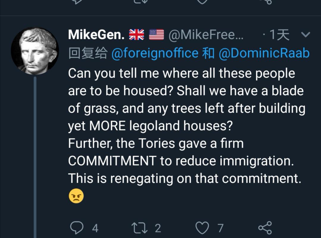 △你能告诉我这些人来了要住哪儿么?是要把最后一块草皮,最后一棵树砍了来建乐高积木一样的房子么?而且,保守党当初坚定地承诺要减少移民的。现在是要毁约?