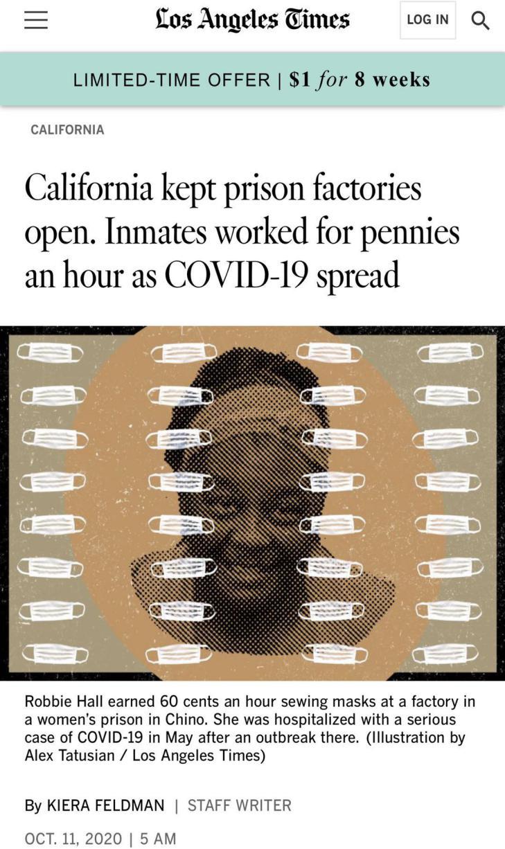 """""""奴隶工厂""""疫情肆虐仍不停工 美国监狱生存状况险恶"""