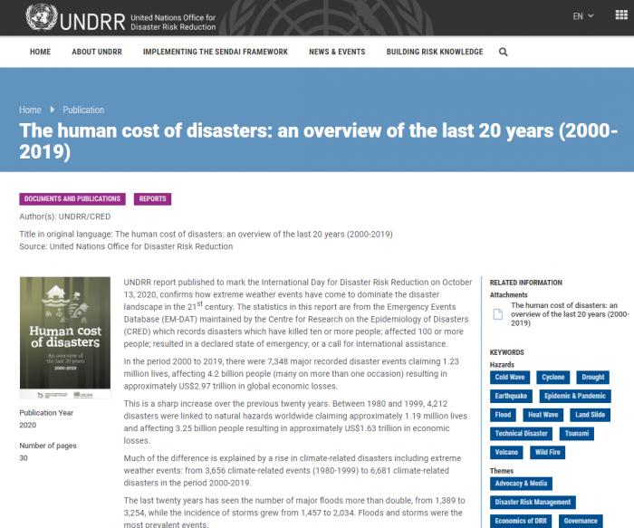 联合国新报告:气候变化导致自然灾害大幅增加