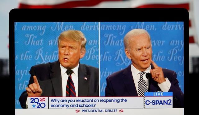 9月29日,美国总统特朗普与民主党总统候选人拜登参加首场电视辩论图据新华社