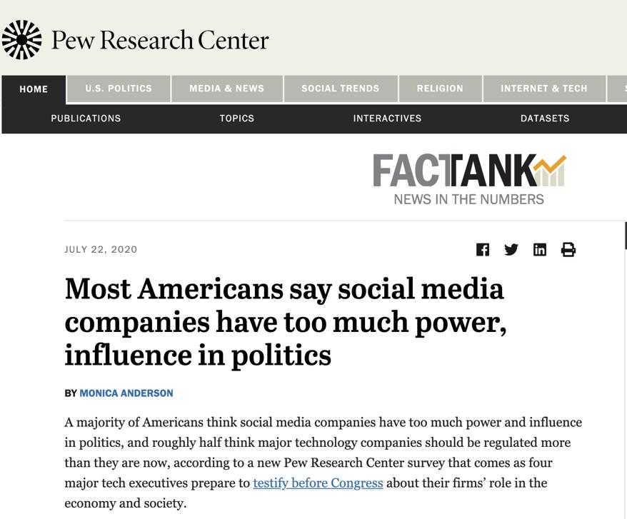 """△皮尤研究中心另一项调查显示,美国72%的成年人认为,目前社交媒体巨头在""""左右国家政治""""上的权力过大"""