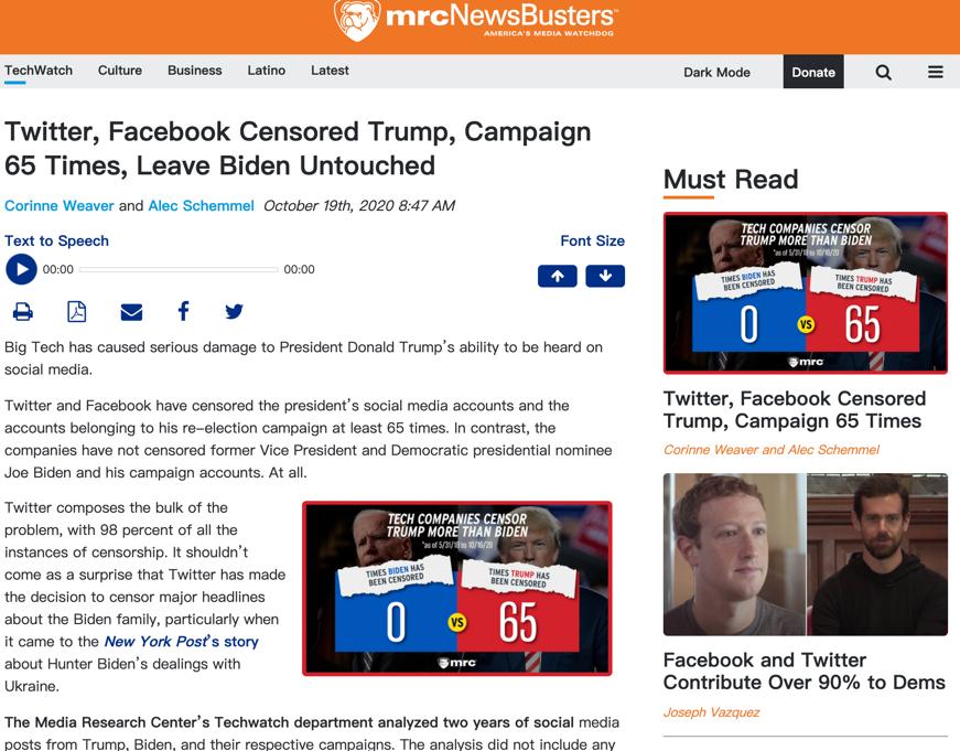 """△""""美国媒体研究中心""""发布调查显示,2018年5月以来,特朗普总统共计被推特、脸书审查65次,而民主党总统候选人乔·拜登却从未接受过来自社交媒体巨头的审查"""