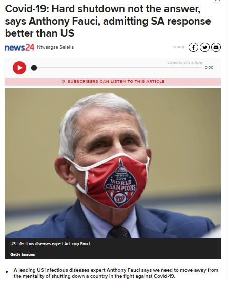 美专家表示南非抗疫做的比美国强
