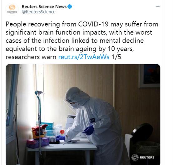 英国发现新冠病毒可能会对感染者大脑造成显著损伤