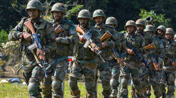 原料图片:印度陆军步兵训练原料图。(印度国防部官网)
