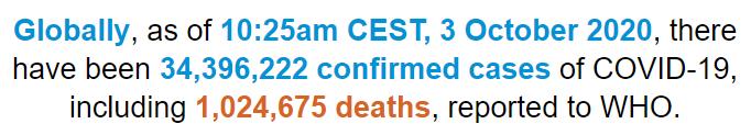 世卫组织:全球新冠肺炎确诊病例超3439万例