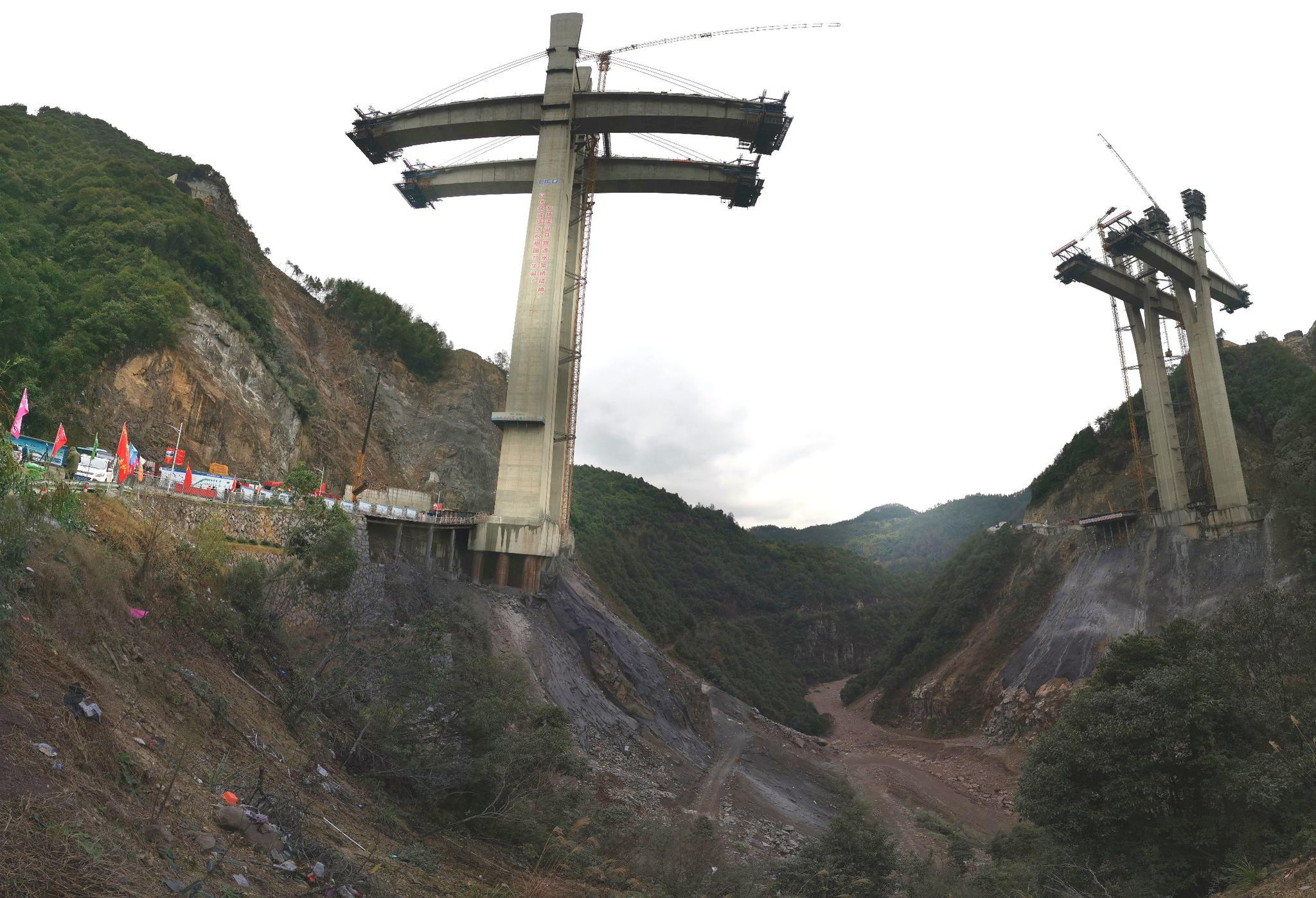 建设中的洪溪特大桥。澎湃新闻记者 杨亚东 图