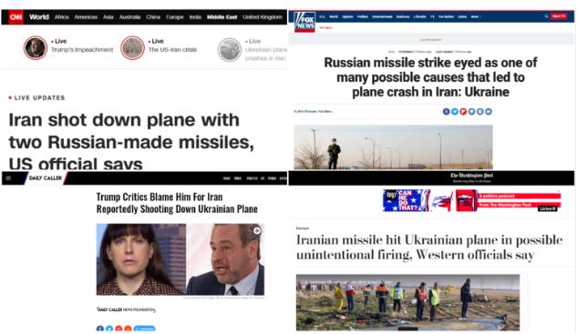 众家美媒报道伊朗击落乌克兰客机截图(图源:今日俄罗斯)