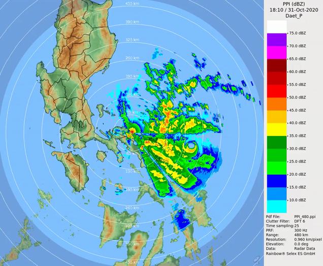 """台风""""天鹅""""以超强台风级别登陆菲律宾卡坦端内斯岛"""