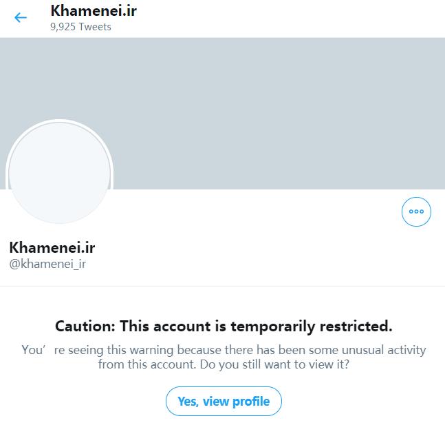 哈梅内伊的推特主页不克直接查望