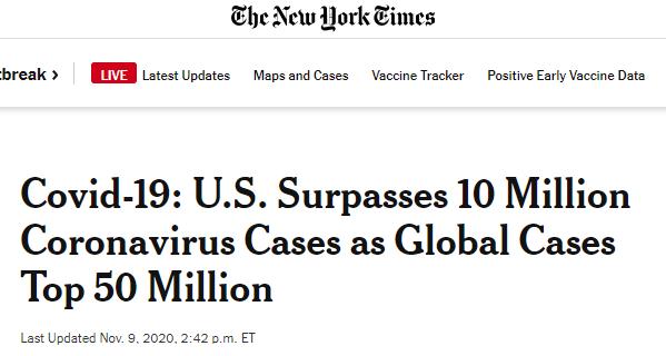 10天时间 美国累计确诊病例从900万上升到1000万