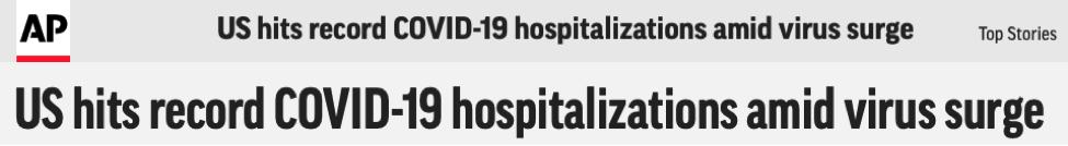 △《美联社》报道截图:美国新冠肺热感染入院人数创新高
