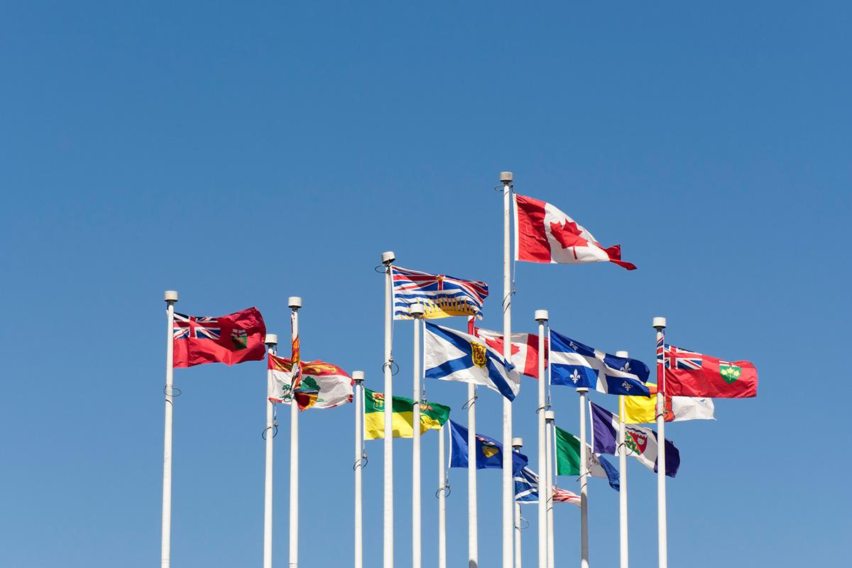 △加拿大国旗与各省和地区的省旗