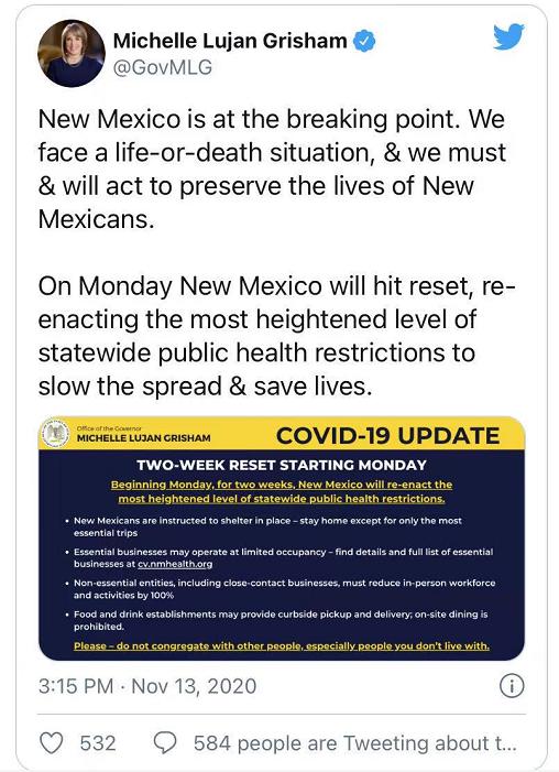 美国新墨西哥州重新关停经济