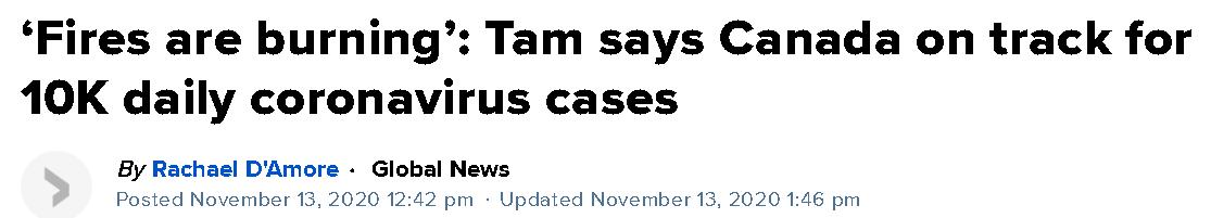 △加拿大环球电视新闻13日报道:《谭咏诗认为加拿大日增新冠病例将达万例 疫情形势如火势燎原》