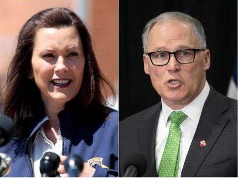 ▲密歇根州州长(左)和华盛顿州州长(右)宣布片面封锁以强化防疫。(Getty Images)