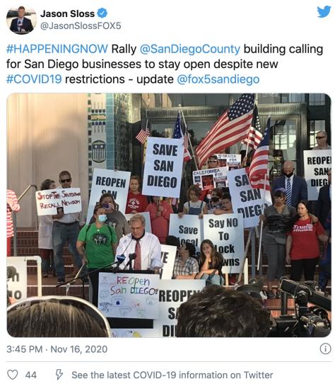 △圣地亚哥一些中幼企业主11月16日举走集会示威,抗议防疫新规,请求盛开商业