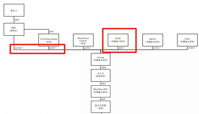 图2:蓝月亮的股权结构。来源,蓝月亮集团招股说明书