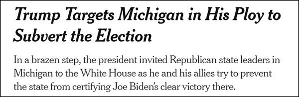 """""""特朗普选中密歇根州行为他'推翻大选策略'的目的"""",《纽约时报》报道截图"""