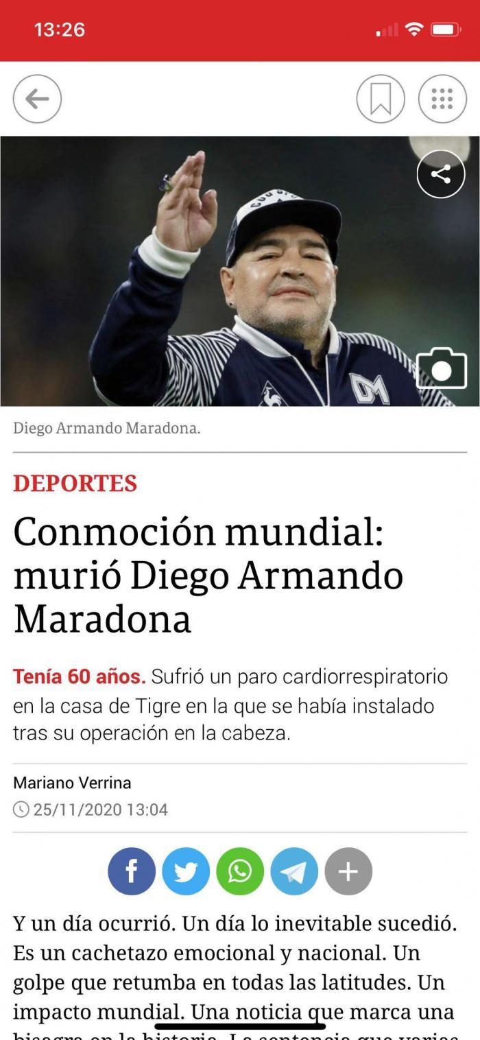 阿根廷球星马拉多纳因心脏骤停去世 享年60岁