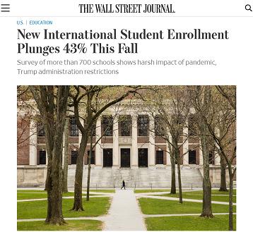△《华尔街日报》报道,美国今年秋季国际新生人数锐减43%