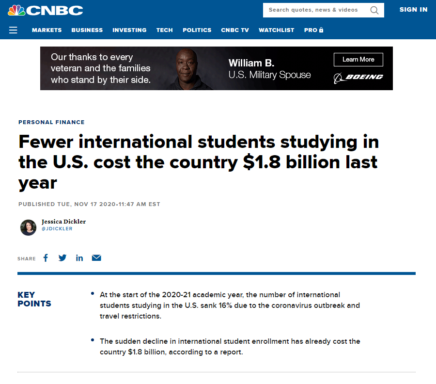 △CNBC报道,留学美国的国际学生越来越少,去年让美国损失了18亿美元