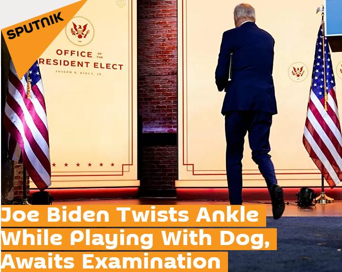 外媒:拜登与狗玩耍时滑倒并扭伤脚踝 将接受骨科检查
