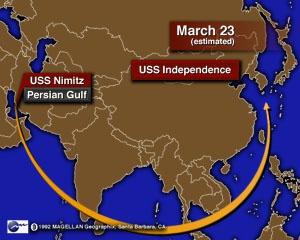 """1996年,美国""""尼米兹""""号航母从波斯湾千里移防到台湾附近 图源:CNN"""
