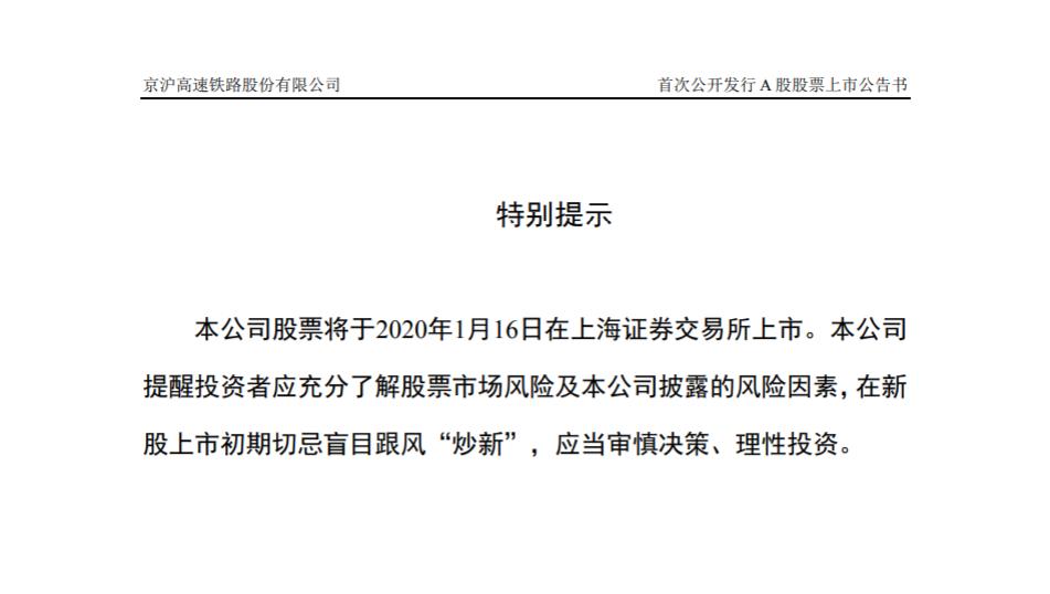 中國高鐵第一股 京滬高鐵股票將于1月16日上市圖片