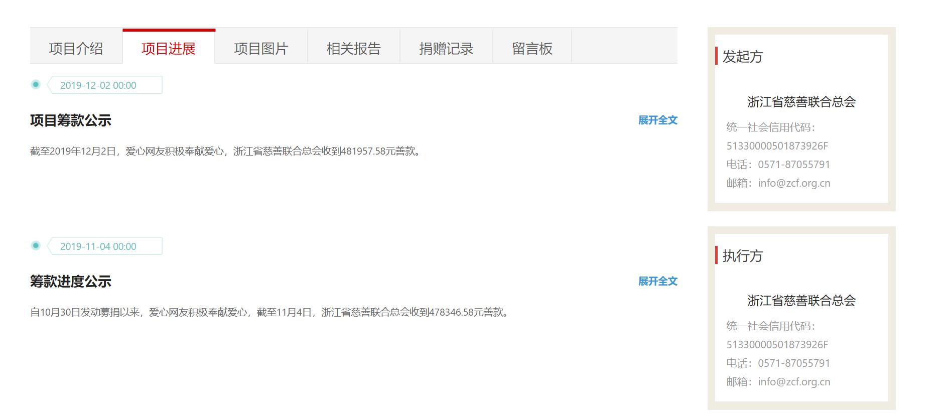浙江慈善联合总会官网显示,截至2019年12月2日,为吴花燕募捐总额为481957.58元。网页截图