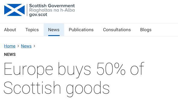 ↑苏格兰政府官网报告:苏格兰对欧盟的出口占其对外出口总额的50%   (来源:苏格兰政府官网)
