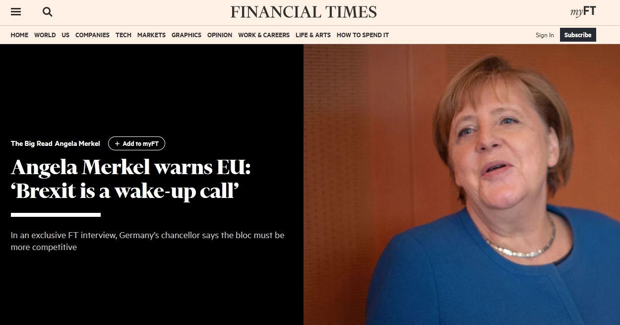 《金融时报》:默克尔警告欧盟:英国脱欧是警钟