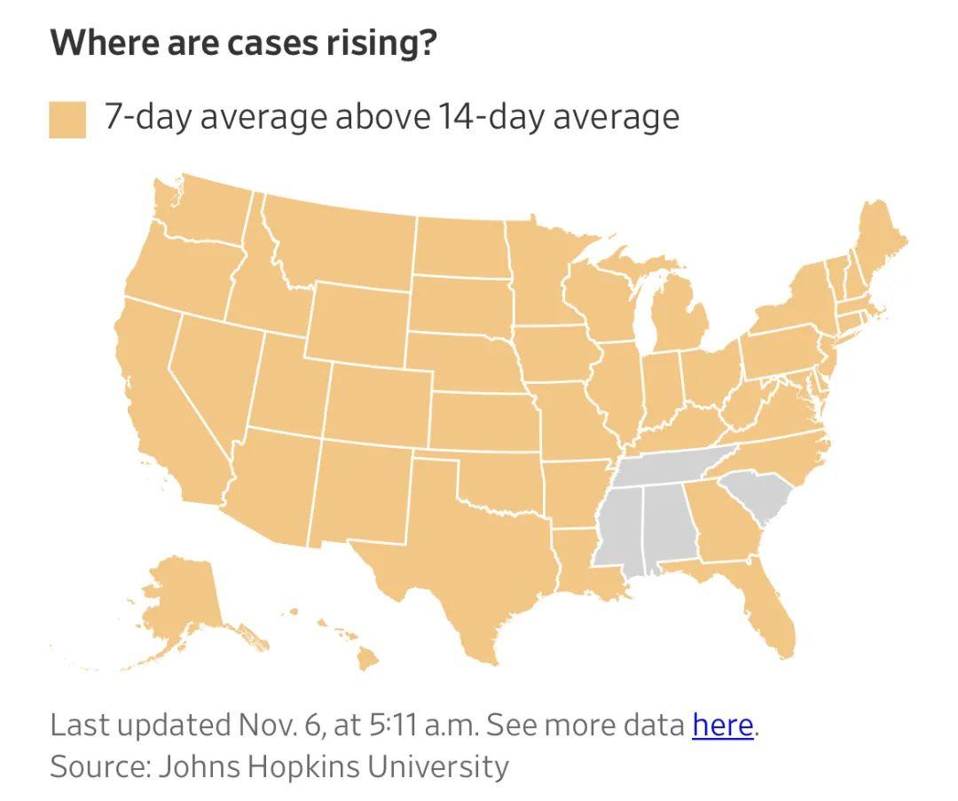 美国哪些地区病例数展现添长?(图片来源:《华尔街日报》)