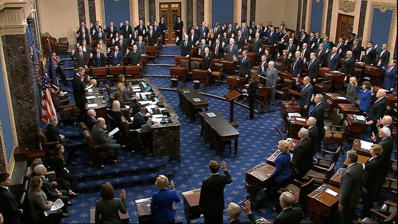 ▲参议院举走弹劾案的宣誓仪式。