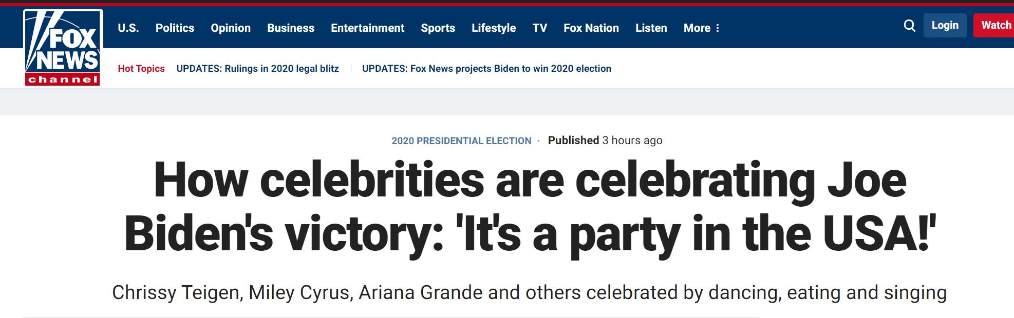 """名流圈""""沸""""了 好莱坞和NBA也庆祝?""""拜登胜选"""""""
