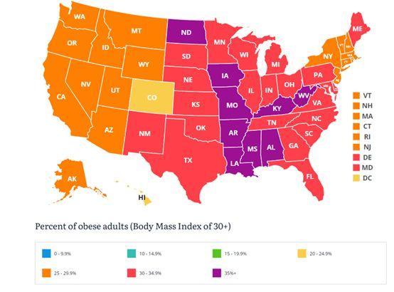 ▲美国成年人肥胖率统计,数据源于统计机构State of Childhood Obesity