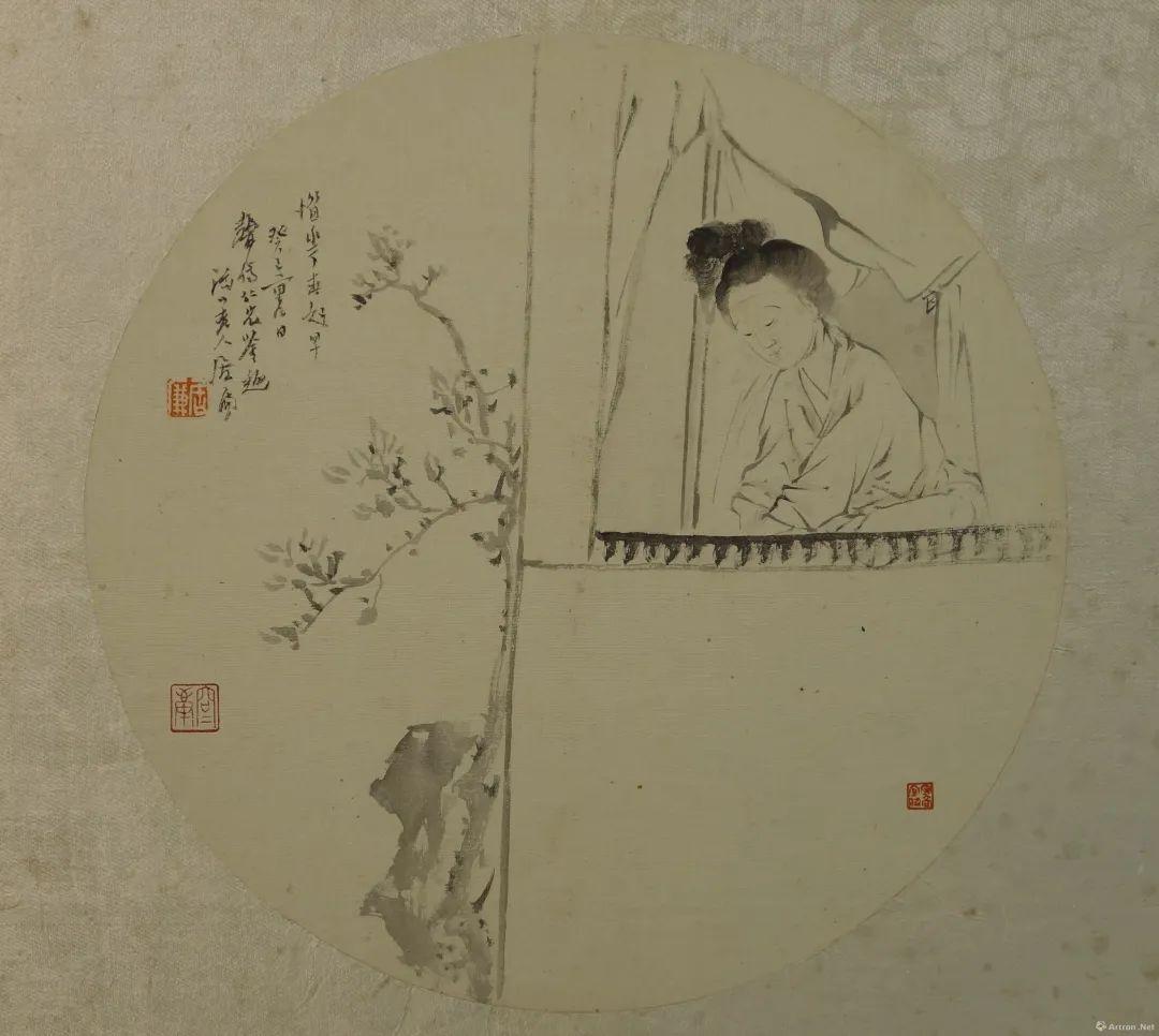 ▲居廉 仕女图团扇 直径24.5cm 绢本设色 清 广州艺术博物院藏