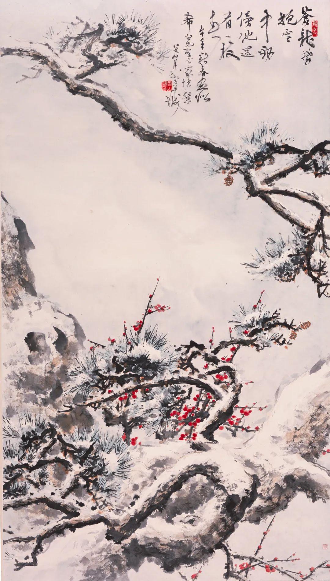 ▲关山月 雪里松梅图 146×81.7cm 纸本设色 年代不详 广州艺术博物院藏