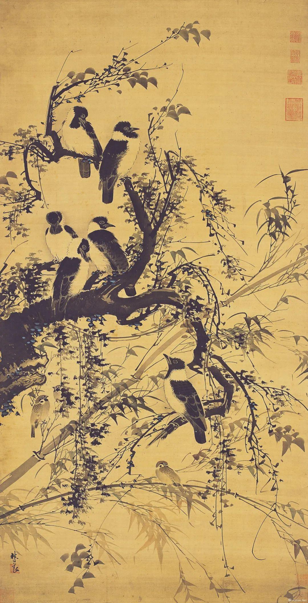 ▲林良 秋树聚禽图 152.5×77cm 绢本设色 明 广州艺术博物院藏