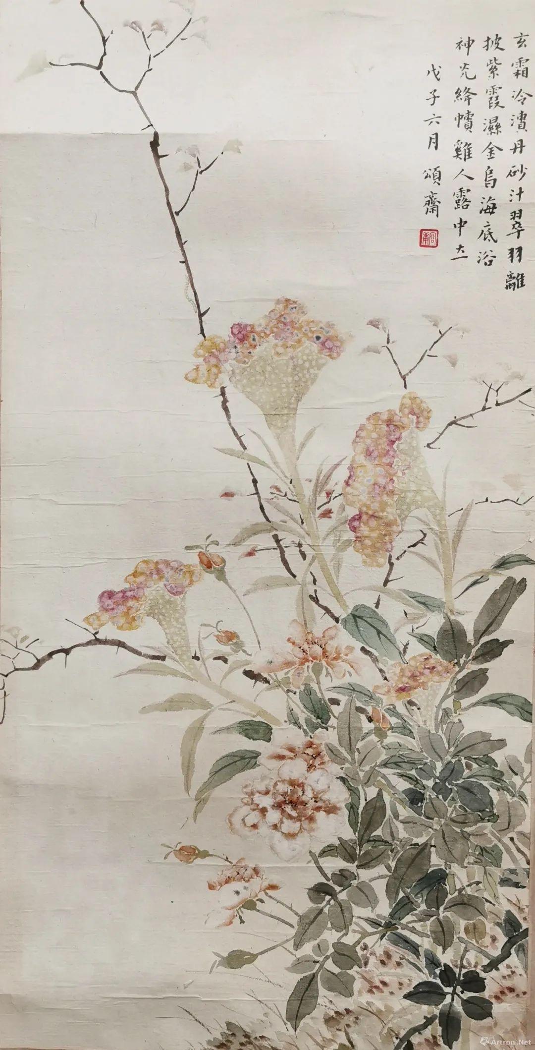 ▲容庚 绛帻鸡人露中立 63×32cm 纸本设色 1948年 中国美术馆藏
