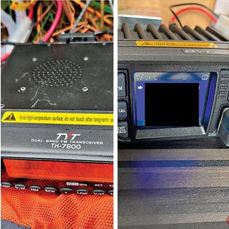 香港警方检获的无线电中转机和高频无线电对讲机(图源:香港《文汇报》)
