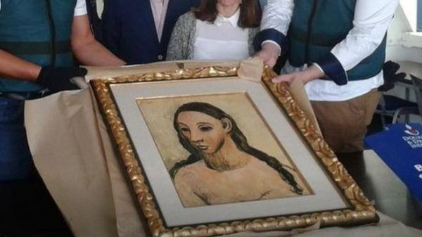 畢加索名畫《一名年輕女子的頭像》(英國廣播公司網站)