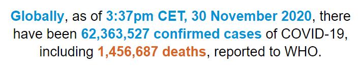 世卫组织:全球新冠肺炎确诊病例超过6236万例
