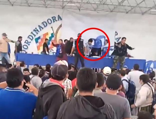 玻利维亚前总统被扔椅子击中头部(图)