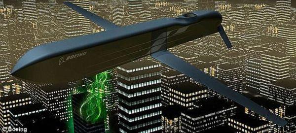 """资料图片:美空军""""高能微波""""巡航导弹攻击敌军电子设备想象图。(美空军官网)"""