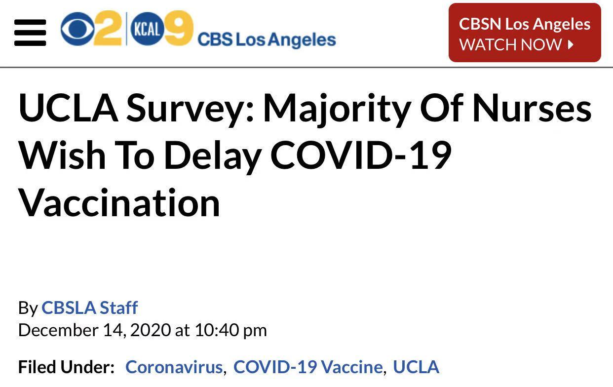 △哥伦比亚广播公司报道,大多数医护人员希望推迟疫苗接种