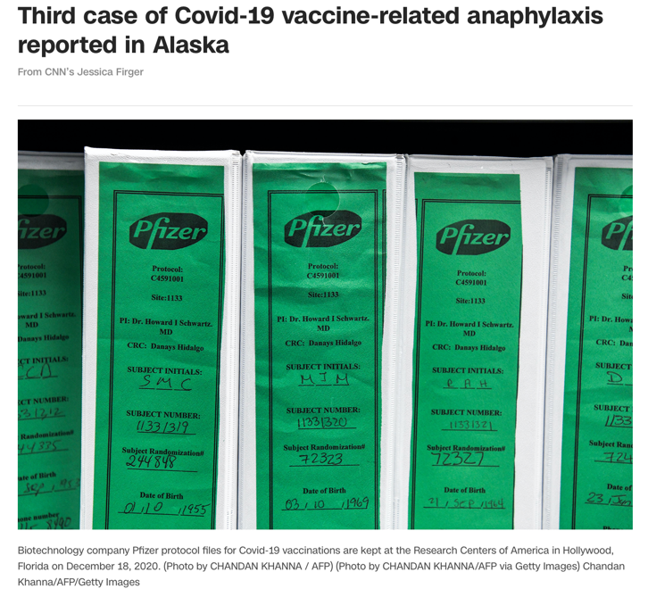 △CNN18日报道,阿拉斯加州出现第三例医护人员接种疫苗后产生不良反应案例