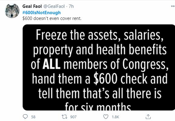 """图为""""推特""""上一个获得1800个点赞的炎帖,外示600美元还不足支付房租的"""