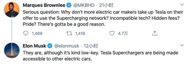 马斯克:特斯拉超充已向其他品牌电动汽车车主开放